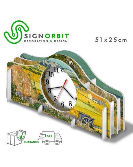 Orologio da tavolo CAMPO CON CARRO BLU di Vincent Van Gogh in PVC -51x25cm ad incastro -meccanismo silenzioso