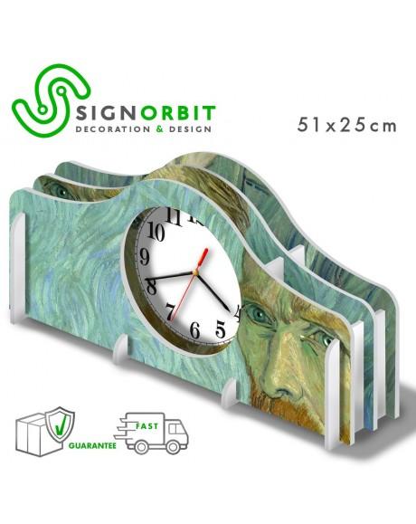 Orologio da tavolo Vincent Van Gogh Autoritratto -51x25cm PVC ad incastro -meccanismo silenzioso