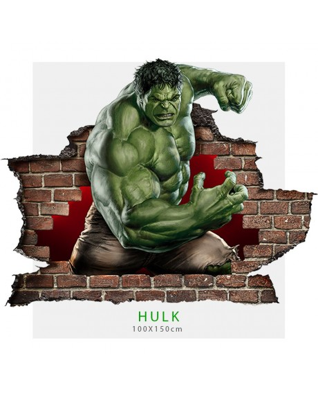Adesivi murali parete 3D l'incredibile Hulk wall sticker cameretta bimbi