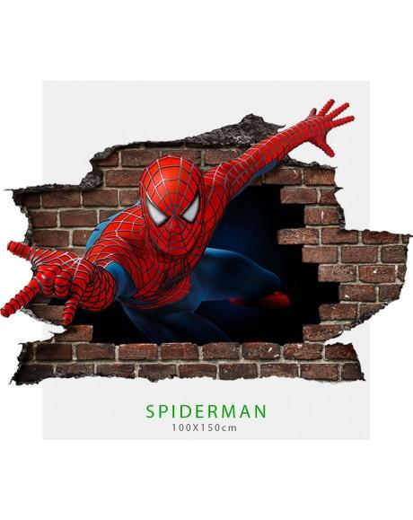 Adesivo parete murale effetto 3D Spiderman uomo ragno wall stickers