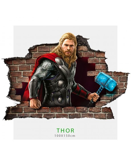 Adesivo parete effetto 3D Marvel supereroe Thor wall stickers