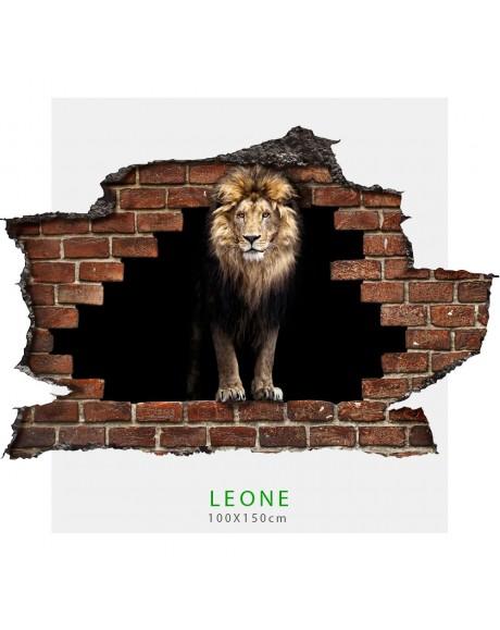 Adesivo parete Leone effetto 3D foro su mattoni wall sticker adesivo per muro LEONE