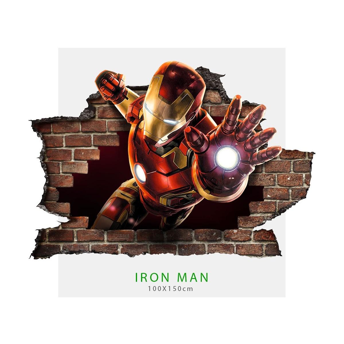 Colla Per Attaccare Quadri adesivo per parete 3d iron man wall sticker cameretta bimbi