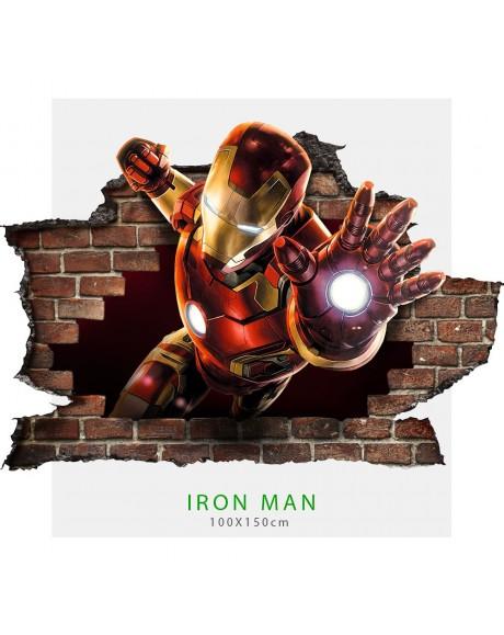Adesivo per parete 3D IRON MAN wall sticker cameretta bimbi