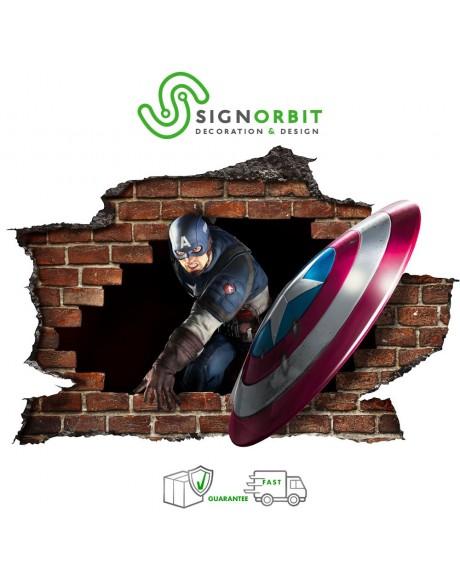 CAPITAN AMERICA Adesivo murale parete 3D wall sticker camera ragazzi