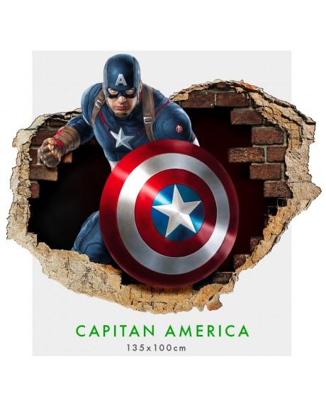 Capitan America - Adesivi murali parete 3D  wall sticker cameretta bimbi