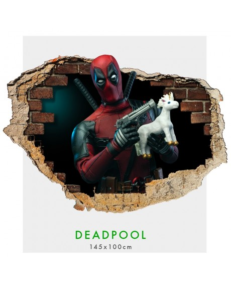 DeadPool - Adesivi murali parete 3D  wall sticker cameretta bimbi