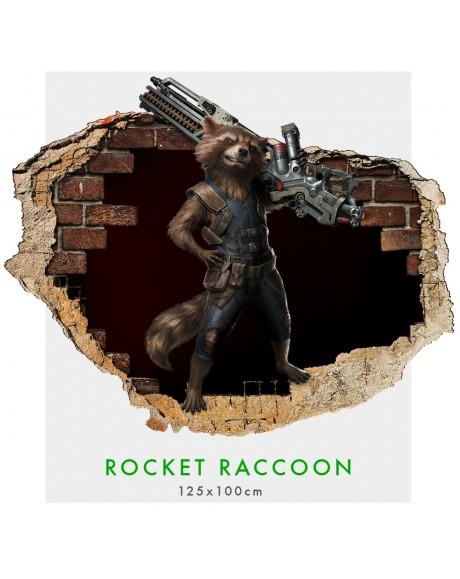 Rocket Raccoon - Adesivi murali parete 3D  wall sticker cameretta bimbi
