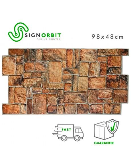 BedRock - Pannello finta pietra in PVC 98x48cm kit di 2 Pz 1 mq