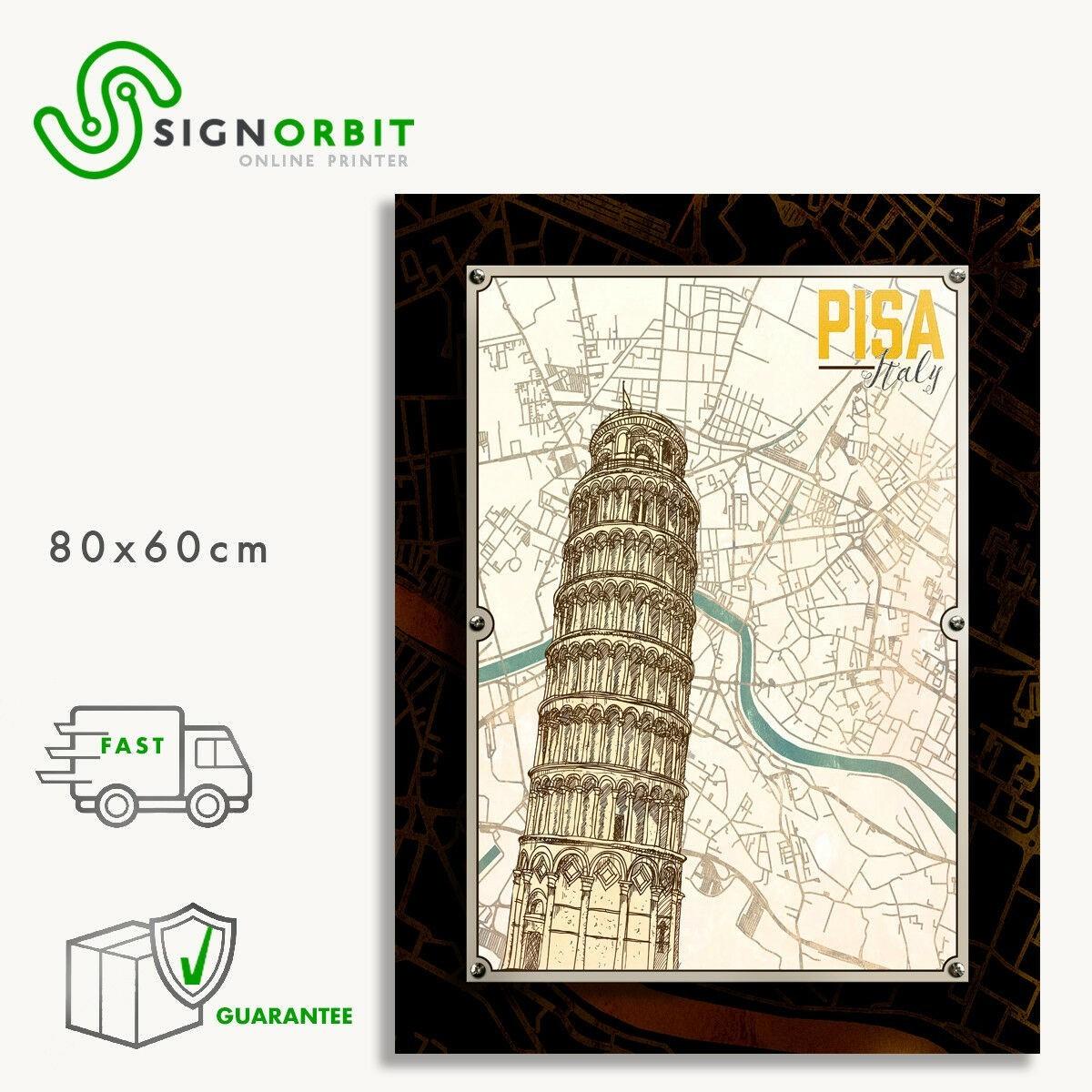 Quadri moderni Mappa di Pisa casa arredo design moderno 60 x 80 cm torre di  pisa
