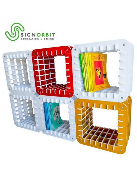 Modulo Libreria design Porta riviste - Porta Libri - 47,5X47,5x32cm - in PVC da 1cm