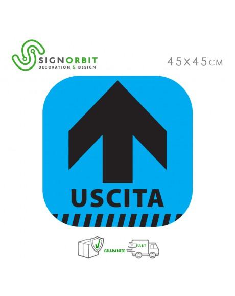 USCITA - Adesivo indicatore di direzione -freccia- Pellicola calpestabile in PVC - 45x45cm