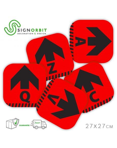 N.09 Adesivi ROSSI 27X27cm con LETTERA - Calpestabili in PVC