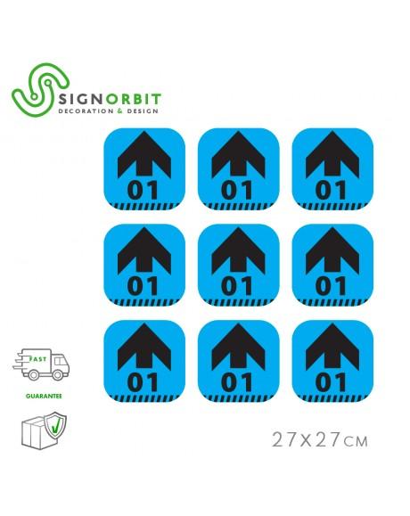 N.09 Adesivi PVC Calpestabile - 27X27cm - indicatore di direzione con numero - CELESTE