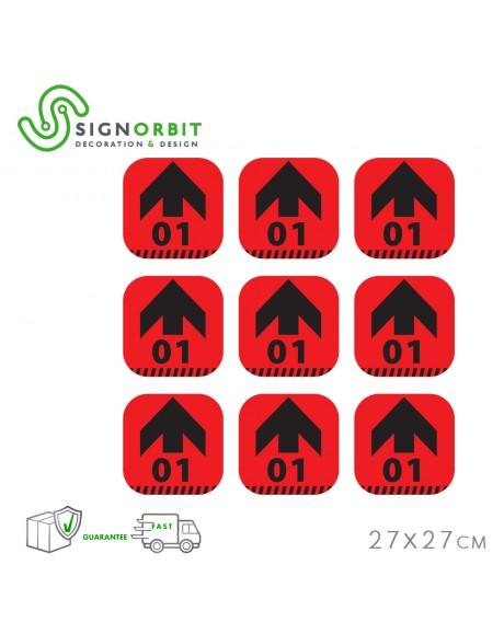 N.09 Adesivi PVC Calpestabile - 27X27cm - indicatore di direzione con numero - ROSSO