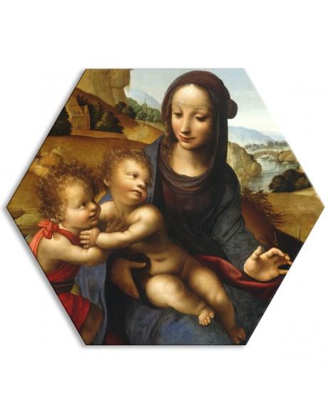 Fernando Yáñez - Madonna con Bambino e S. Giovanni - Tela esagonale - Quadro stampato su Canvas e montato su telaio in PVC