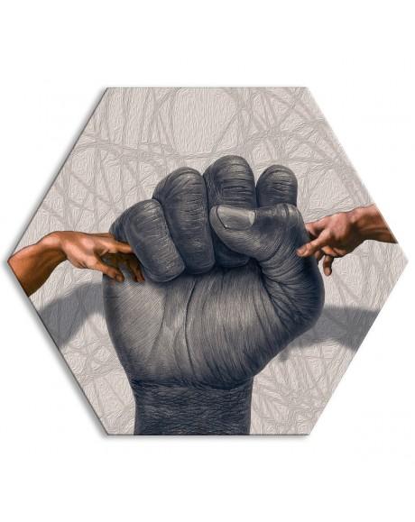 Fernando Moretti - Vita eterna agli Adamo - Tela esagonale - Quadro stampato su Canvas e montato su telaio in PVC
