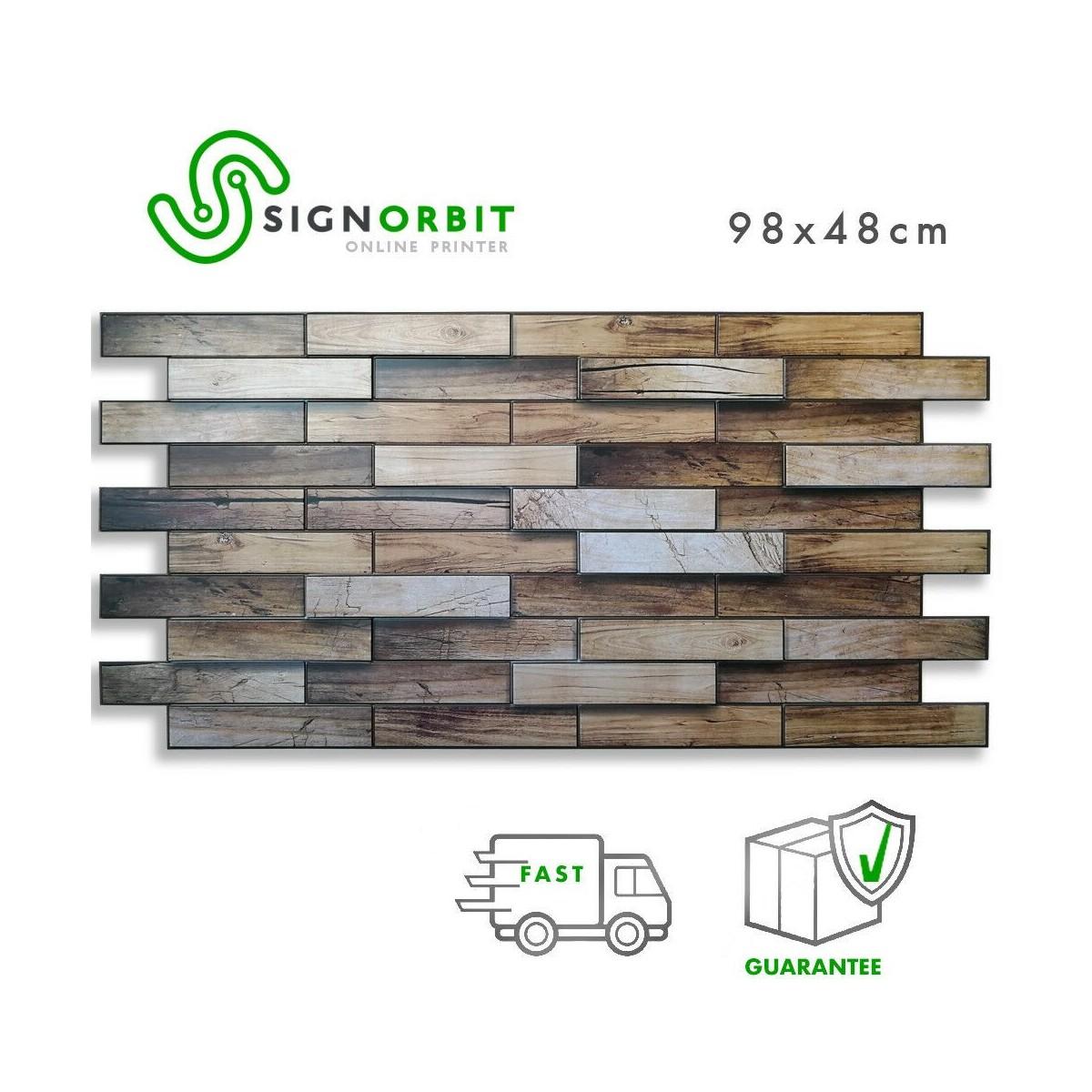 Rivestimenti In Legno Da Parete pannelli parete pvc finto legno effetto 3d noce 98x48cm - spes. 0,4mm 2 pz  1mq