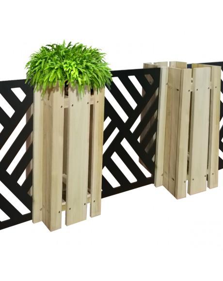 FIORIERA-WOOD COMPOSIZIONE - Porta vasi con divisorio staccionata modulabile - 150x100cm - in Legno e PVC