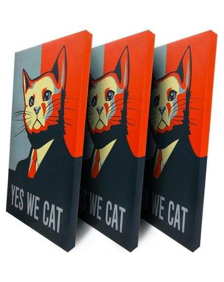 Quadro Canvas su telaio in legno Locandina YES WE CAT